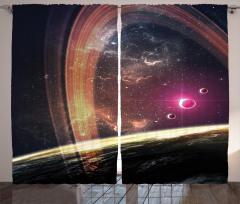 Uzay Temalı Fon Perde Galaksi Gezegen Şık Tasarım