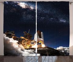 Uzay Mekiği Temalı Fon Perde Lacivert Gri Kozmos