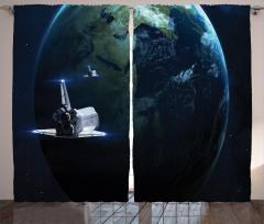 Galaksi ve Uzay Gemisi Fon Perde Siyah Mavi