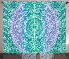 Çiçek Desenli Fon Perde Mavi Yeşil Beyaz Trend