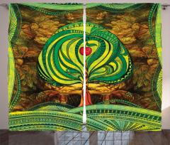 Elma Ağacı Desenli Fon Perde Yeşil Kahverengi Şık