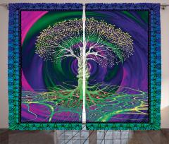 Yeşil Ağaç Desenli Fon Perde Mor Mavi Şık Tasarım