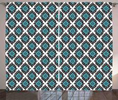 Duvar Kağıdı Temalı Fon Perde Mavi Beyaz Siyah