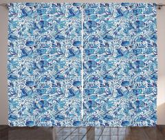 Mavi Beyaz Şal Desenli Fon Perde Çiçekli Çeyizlik