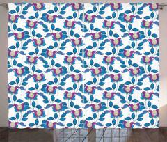 Çiçek Desenli Fon Perde Şal Mavi Mor Şık Tasarım