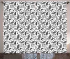 Gri Şal Desenli Fon Perde Çiçekli Şık Tasarım