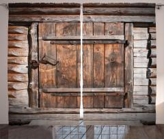 Nostaljik Kapı Desenli Fon Perde Kahverengi Ahşap