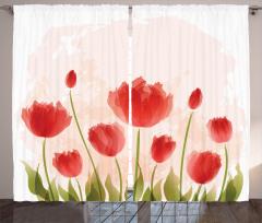 Kırmızı Lale Desenli Fon Perde Çeyizlik Trend Şık