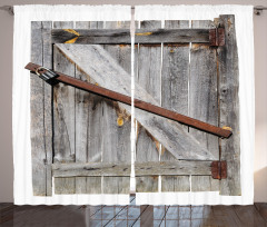 Ahşap Kapı Temalı Fon Perde Kahverengi Gri Antik
