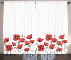 Kırmızı Gelincik Fon Perde Çiçek Çeyizlik