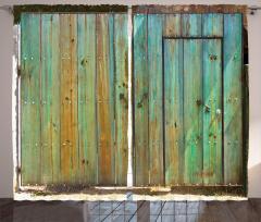 Yeşil Ahşap Kapı Temalı Fon Perde Nostaljik Şık
