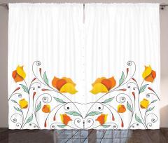 Sarı Çiçek Desenli Fon Perde Turuncu Çeyizlik Şık