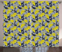 Çiçek Desenli Fon Perde Gri Sarı Doğa Trend Şık