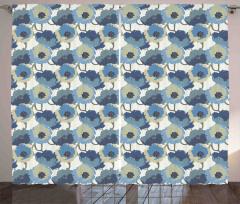 Nostaljik Çiçek Desenli Fon Perde Mavi Şık Tasarım