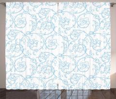 Mavi Çiçek Desenli Fon Perde Beyaz Şık Tasarım