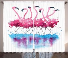 Flamingo Desenli Fon Perde Pembe Mavi Şık Tasarım