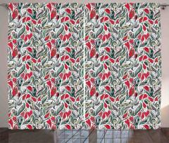 Kırmızı Çiçekli Fon Perde Gri Şık Tasarım Trend
