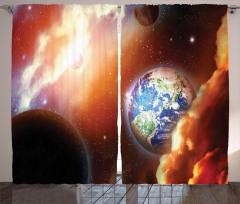 Dünya ve Galaksi Temalı Fon Perde Turuncu Evren