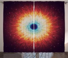Uzay Temalı Fon Perde Yıldız Kara Delik Turuncu