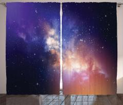 Yıldız Temalı Fon Perde Lacivert Gökyüzü Uzay