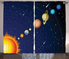 Güneş Sistemi Temalı Fon Perde Uzay Lacivert Evren