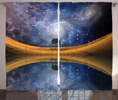 Yıldızlar ve Gökyüzü Fon Perde Göl Lacivert