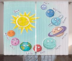 Güneş Sistemi Temalı Fon Perde Çocuk İçin Mavi
