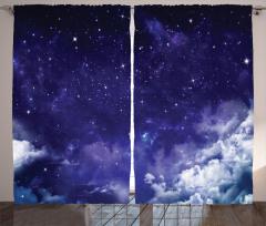 Gökyüzü ve Yıldız Fon Perde Lacivert Uzay