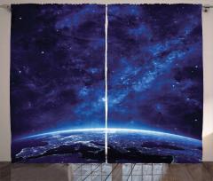 Uzay Temalı Fon Perde Lacivert Yıldız Dünya Gece