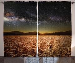 Buğday Tarlası Temalı Fon Perde Yıldız Gökyüzü