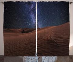Çöl ve Yıldızlı Gökyüzü Fon Perde Lacivert