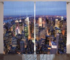 New York Manzaralı Fon Perde Gökdelen Mavi Şık
