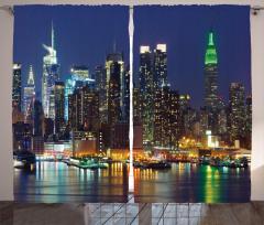 New York Gecesi Temalı Fon Perde Gökdelen Lacivert