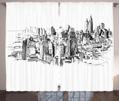 New York Temalı Fon Perde Siyah Beyaz Trend Şık