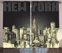 New York Temalı Fon Perde Siyah Gri Şık Tasarım