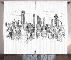 New York Temalı Fon Perde El Çizimi Siyah Beyaz