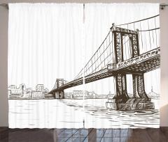 Köprü Desenli Fon Perde El Çizimi Şık Tasarım