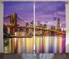 Brooklyn Köprüsü Temalı Fon Perde Altın Mor Şık