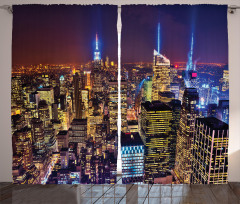 New York Temalı Fon Perde Sarı Gökdelen Trend