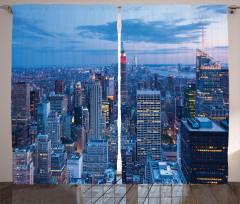 New York Manzaralı Fon Perde Mavi Şık Tasarım