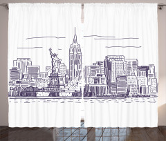 New York Temalı Fon Perde Beyaz Elle Çizim Şık