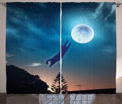 Ay'a Atlayan Kedi Fon Perde Mavi Yıldız Şık