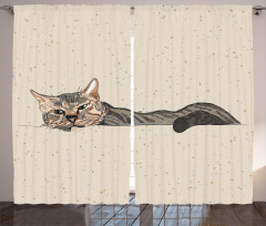 Kedi Desenli Fon Perde Bej Trend Şık Tasarım Çizim