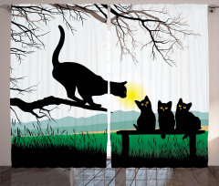 Kara Kedi Temalı Fon Perde Ağaç Yavru Anne Şık