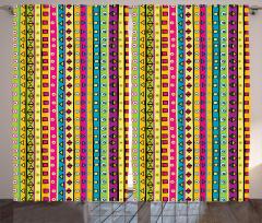 Rengarenk Çizgili Fon Perde Geometrik Şık