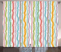 Rengarenk Çizgili Fon Perde Dekoratif Şık