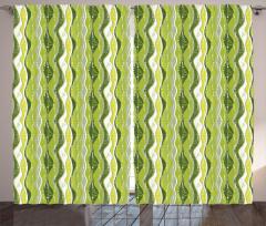 Yeşil Şeritli Fon Perde Şık Tasarım Dekoratif