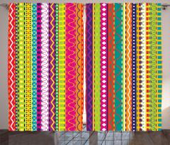 Rengarenk Şeritli Fon Perde Şık Tasarım Dekoratif