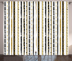 Çizgili Desenli Fon Perde Siyah Beyaz Altın Şık