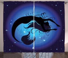 Mavi Ay ve Deniz Kızı Fon Perde Şık Tasarım
